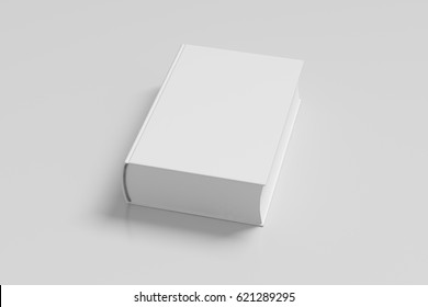 White blank thick book cover portrait orientation on white background with clipping path. 3d render