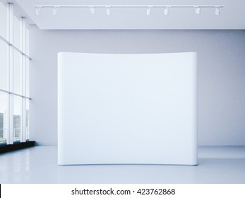 White blank trade show booth in bright office interior. 3d rendering