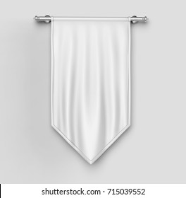 White blank Vertical Flag Banner Mock up template. 3d illustration.