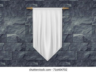 White blank Vertical Flag Banner Mock up template. 3d render illustration.