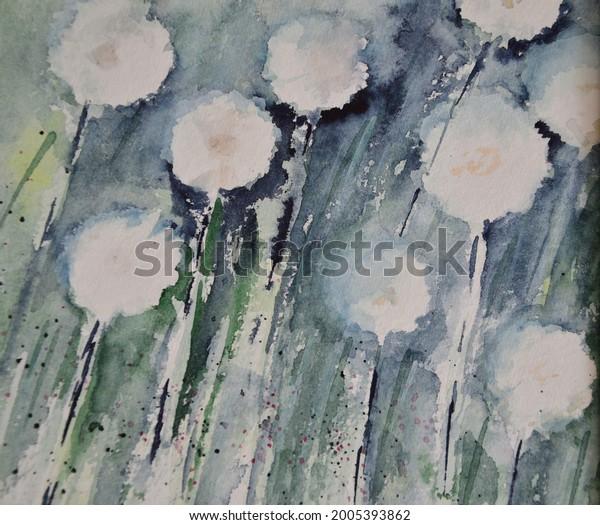 white blossoms painted with watercolors