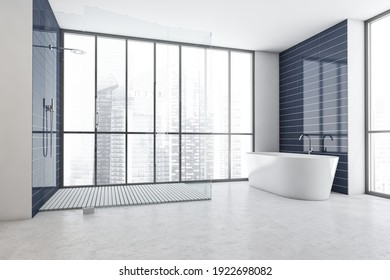 White and blue bathroom with white bathtub and glass shower, grey marble floor and window with city view, side view. Minimalist modern bathroom, 3D rendering no people