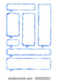 White and blue blank watercolor rounded rectangle shapes map pins template form isolated on white background. Color aquarelle. Handmade technique.