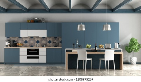 White and blue contemporary kitchen with arched ceiling and cement floor - 3d rendering