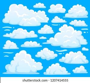 White blue day cumulus cloud symbol shape or cloudscape background. Cartoon nature air clouds symbols set for cloudy sky climate illustration