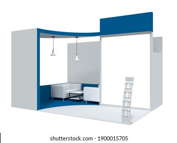 White with a blue display stand. Creative kiosk for branding. 3d rendering.
