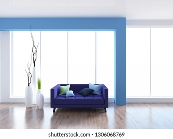 white and blue empty interior with a sofa. 3d illustration