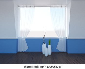 white and blue empty interior with vases. 3d illustration