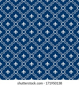 White and Blue Fleur-De-Lis Pattern Textured Fabric Background that is seamless and repeats