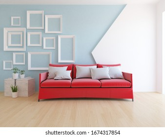White and blue minimalist living room interior with sofa on a wooden floor, frames on large wall, white landscape in window. Home nordic interior. 3D illustration