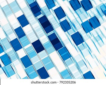White and blue technology style backgroud. Simple abtract computer-generated checkered backdrop. Graphic design element for information technology or businness projects.
