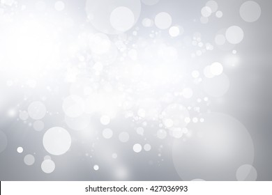 white bokeh blur background / Circle light on gray background / abstract light background