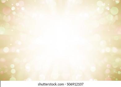 white bokeh blur background / Circle light on yellow background / Light gold sparkle background