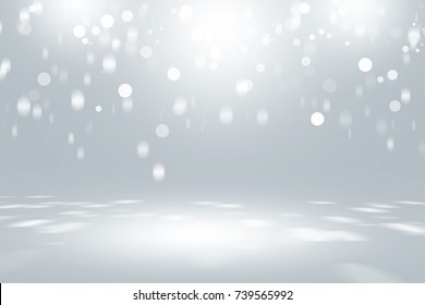 white bokeh blur background / Circle light on gray studio background