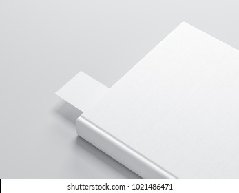 White book with Bookmark Mockup, 3d rendering
