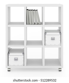 White book rack isolated on white background. Include clipping path. 3d render