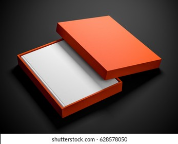 White book with textured hard cover in orange gift box. 3d rendering