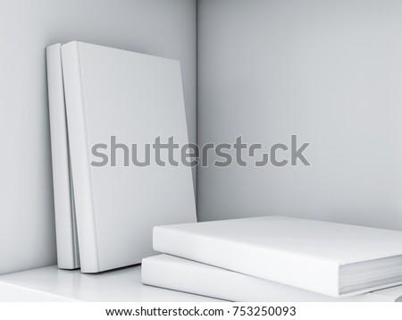 White Books Mockup In Bookshelf 3d Rendering