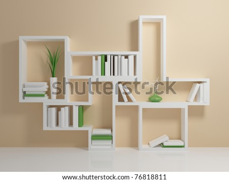 White Bookshelf With A And Green Books Against Beige Wall