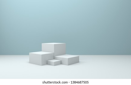 White booth 3D rendering background wall,White display table simple rendering background wall, can be used for banner design items display background.