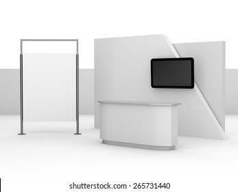 white booth or kiosk with wall and tv display. render