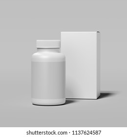 White bottle with blank label and white box on light gray background, 3d rendering.