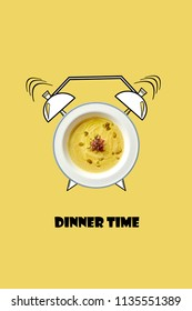 White bowl of hot soup and alarm clock hand drawn illustration on yellow background. The inscription Dinner time.