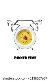 White bowl of hot soup and alarm clock hand drawn illustration isolated on white background. The inscription Dinner time.