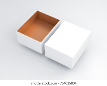 White Box with golden carboard inside Mockup, open cover, 3d rendering