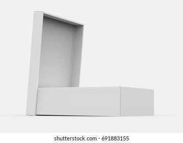 White Box Mockup Blank Template With Open Lid In 3d Rendering