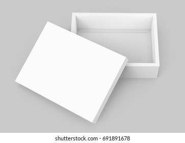 White box mockup, blank box template with lid lean on it in 3d rendering