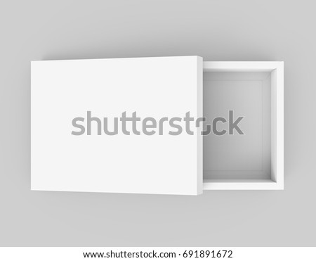 White Box Mockup Blank Template With Lid Lean On It In 3d Rendering