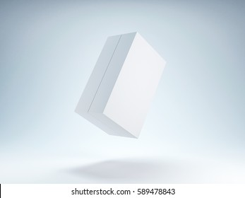 White Box Mockup flying in the air, 3d rendering