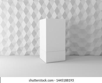 White box mockup on shelf near textured wall, 3d rendering