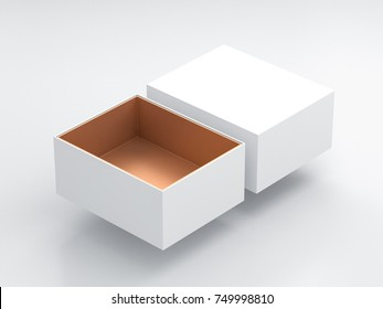 White Box Mockup with open cover and golden cardboard inside, 3d rendering