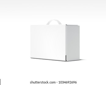 White box package with transparent handle isolated on bright background. 3d rendering