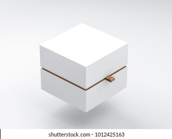 White Box packaging Mockup Half Side View, 3d rendering