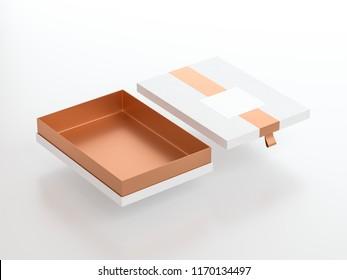 White Box packaging Mockup Half Side View, 3d rendering