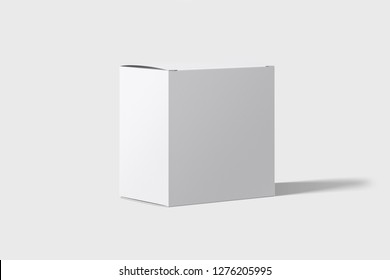 White Box packaging Mockup in light studio. Place your design.Cardboard Package Box isolated on a white background.3D rendering.