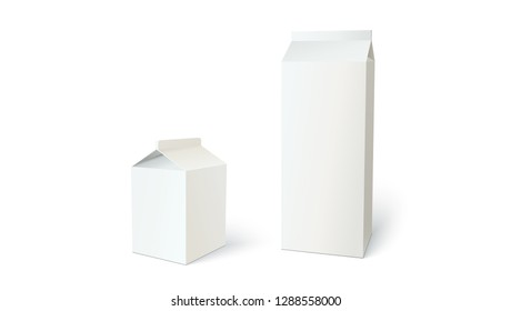 White boxes for milk or juice, can use for design or branding. Set of blank different carton containers for liquid. 3D illustration isolated on white background