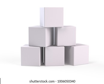 White Boxes on white background - 3d rendering