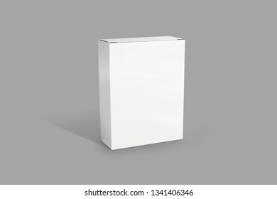White boxMockUp packiging. Box on the grey background. Illustration. 3D