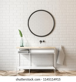 White brick bathroom interior with a stylish sink. Plant standing on the shelf. A round mirror. 3d rendering mock up