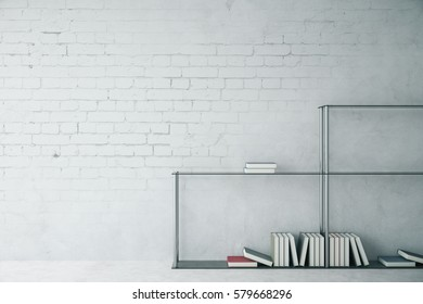 White brick interior with modern bookshelf and blank wall. Mock up, 3D Rendering