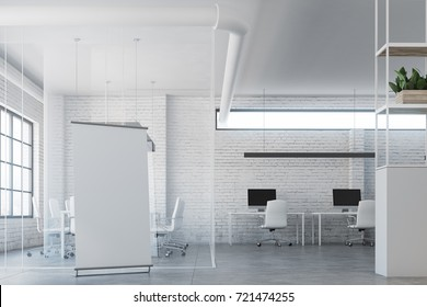 White brick open space office interior with white tables and chairs standing along the walls. A meeting room and a poster. 3d rendering mock up