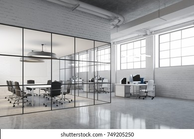 White brick open space office interior with an aquarium like conference room and a row of computer desks along the wall. Side view. 3d rendering mock up