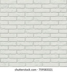 White brick seamless texture. Aged brickwork background. 3d rendering digital illustration