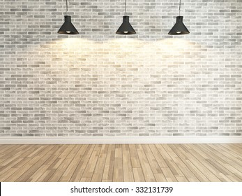 white brick wall decoration under three light, interior wall pattern and background 3d rendering