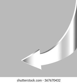 White brilliant arrow points backward and grey background. Symbol of motion return