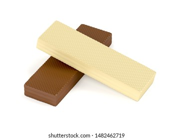 White and brown chocolate wafers on white background, 3D illustration